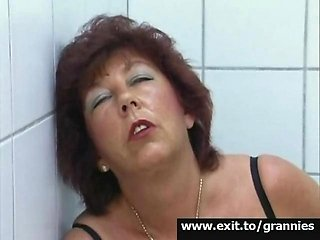 Orgasm 65 Years Alice in public restroom