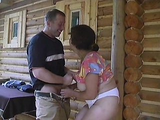 Penny was fondled right on the porch of the old log cabin house. He grabbed ahold of those big, natural melons of hers and squeezed. Then as Penny lai