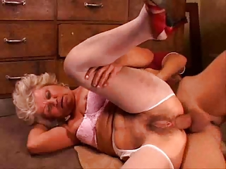 Granny with hairy pussy fucking by young