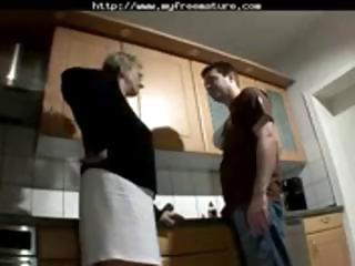 Blonde granny goes down on his cock before getting hard fuck