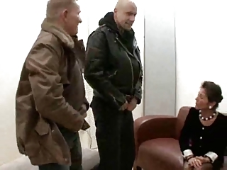 German Hairy Granny Gets Fucked By Two Dudes