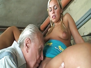 Granny couple having a good one with young pussy
