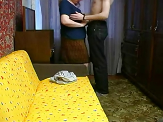 Amateur stepmother and boy