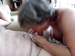 Grandma sucking hard grandpa penis