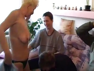 Granny and three young men - 3