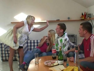 Partying boys screw blonde grandmother