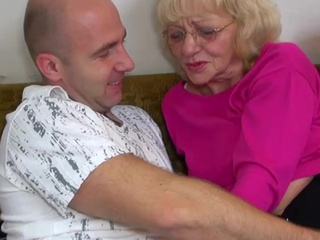 Dirty innocent dude bonking grandma about strap-on