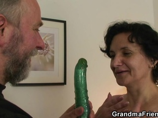 Her old hairy pussy is toyed and banged