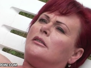Horny Granny slyt with Red hair drilled outdoor