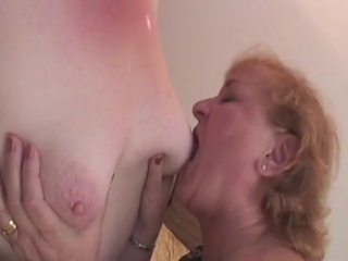 Grey-haired granny Lesbians receive off with vibrators