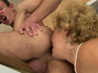 Hairy mature granny pussy pounded while in her lingerie