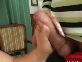 Granny jumps on his cock